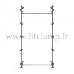 Etagère simple 5 niveaux en structure tubulaire acier galvanisé sans tablette. FitClamp.
