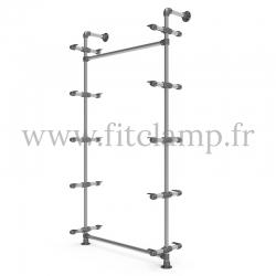 Single-width 5-level shelving with hanging wardrobe. Tubular structure.
