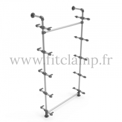Single-width 5-level shelving with hanging wardrobe. Tubular structure. Easy to install.
