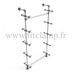 Etagère simple 5 niveaux en structure tubulaire acier galvanisé Ø  B34 sans tablette bois. FitClamp.