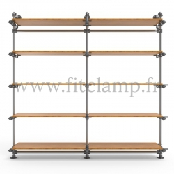 Etagère double 5 niveaux en structure tubulaire acier galvanisé. Face avant. FitClamp