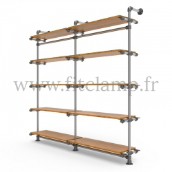 Double-width 5-level shelving with hanging wardrobe. Tubular structure.