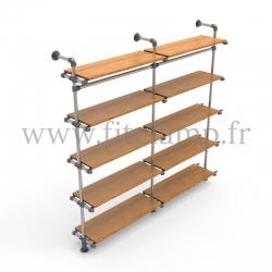 Etagère double 5 niveaux en structure tubulaire acier galvanisé. En situation avec vêtements. Face 3. FitClamp