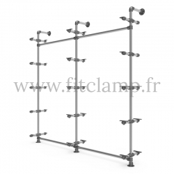 Double-width 5-level shelving with hanging wardrobe. Tubular structure. Easy to install