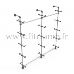Etagère double 5 niveaux en structure tubulaire acier. En situation sans tablette. FitClamp