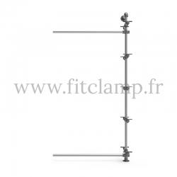 Etagère 5 niveaux simple Extension en structure tubulaire acier galvanisé. FitClamp