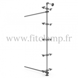 Tubular single-width 5-level shelving extension. FitClamp
