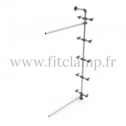 Etagère 5 niveaux simple Extension en structure tubulaire acier. FitClamp