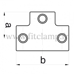 Tube clamp fitting 104 for tubular structures: Long tee, compatible for use with 3 tubes. Assembling with a simple Allen key