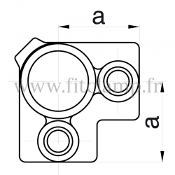 Tube clamp fitting 116  for tubular structures: 3-way through tube clamp, compatible for use with 3 tubes.