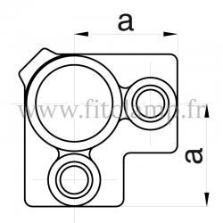 Raccord tubulaire T coude intermédiaire (116) pour un assemblage tubulaire. Compatible pour fixer 3 tubes. Dessin technique.