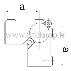 Tube clamp fitting 116A for tubular structures for use with 3 tubes. FitClamp.