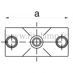 Raccord tubulaire Croix (119) pour un assemblage tubulaire.  Compatible pour fixer 3 tubes. FitClamp. Dessin technique. FitClamp