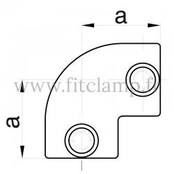 Raccord tubulaire Coude 90° (125) pour un assemblage tubulaire. Dessin technique