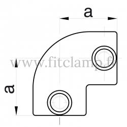 Tube clamp fitting 125 for tubular structures: 2-way elbow 90° clamp, compatible for use with 2 tubes.