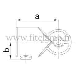 Tube clamp fitting 125H for tubular structures: Variable elbow clamp, compatible for use with 2 tubes.