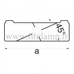 Raccord tubulaire Croix incliné 30°-45° (126) pour un assemblage tubulaire. Dessin technique