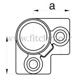 Raccord tubulaire Coude 90° type corner (128) pour un assemblage tubulaire.  Compatible pour fixer 3 tubes. Dessin technique