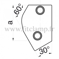 Tube clamp 129 for tubular structures: Adjustable short tee 30- 60° clamp. Put together your tubular structure with ease.