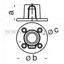 Tube clamp fitting 131 for tubular structures: Base flange. Recommended tightening torque: 40Nm