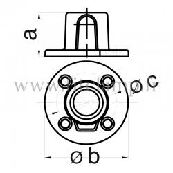 Raccord tubulaire Platine de fixation (131) pour un assemblage tubulaire. Compatible pour fixer 1 tube. Dessin technique