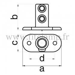 Raccord tubulaire Piètement avec platine oblong (132) pour un assemblage tubulaire. Double galvanisation