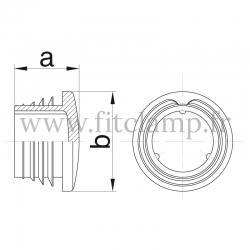 Raccord tubulaire Embout de tube plastique (133) pour un assemblage tubulaire. Dessin technique
