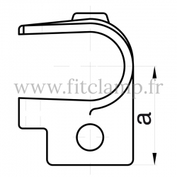 Tube clamp fitting 135 for tubular structures: Short clamp on tee, suitable for 2 tubes. Recommended tightening torque: 40Nm