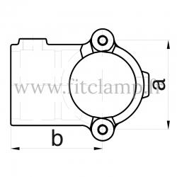 Raccord tubulaire T court ouvert type bride (136) pour un assemblage tubulaire. Double galvanisation