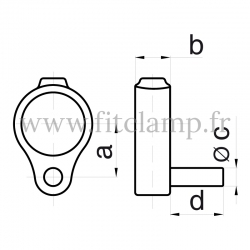 Tube clamp fitting 140 for tubular structures: Gate hinge
