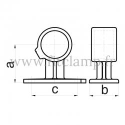Raccord tubulaire Patte de fixation traversante (143) pour un assemblage tubulaire. Double galvanisation. Dessin technique
