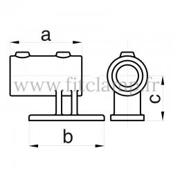 Raccord tubulaire Patte de fixation avec platine Vertical (144) pour un assemblage tubulaire. Double galvanisation. FitClamp