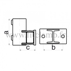 Patte de fixation avec platine Horizontal - Raccord tubulaire FitClamp