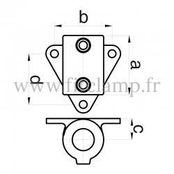 Patte de fixation avec platine triangulaire - Raccord tubulaire FitClamp