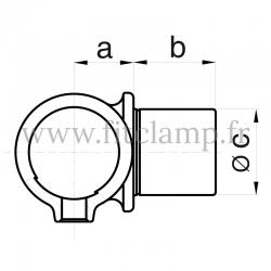 Raccord tubulaire T court embout mâle (147) pour un assemblage tubulaire. Double galvanisation. Plan