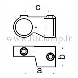 Raccord tubulaire Croix orientable Horizontal(148) pour un assemblage tubulaire. Double galvanisation. Plan