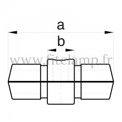 Raccord tubulaire Manchon interne (150) pour un assemblage tubulaire. Double galvanisation. plan