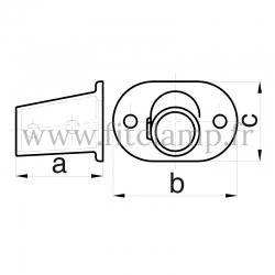 Tube clamp fitting 152 for tubular structures: Railing base flange 0 -11°