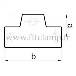Raccord tubulaire T long incliné 0°-11° (155) pour un assemblage tubulaire. Double galvanisation. Plan