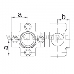 Tube clamp fitting 158  for tubular structures: Four-way cross