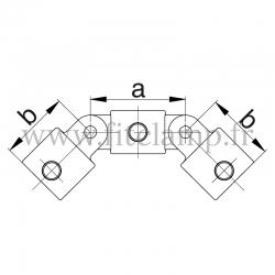 Raccord tubulaire Croix orientable 190° Vertical (167) pour un assemblage tubulaire. Double galvanisation. Plan