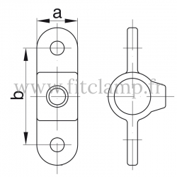 Tube clamp fitting 167M for tubular structures: Double male inline swivel