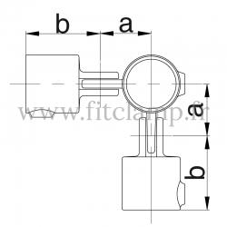 Tube clamp fitting 168 for tubular structures: Corner swivel 90°