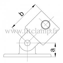 Tube clamp fitting 169  for tubular structures: Swivel base