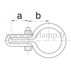 Raccord tubulaire Bague simple fixation grillage (170) pour un assemblage tubulaire. Double galvanisation. plan
