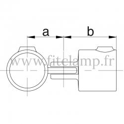 Raccord tubulaire T court orientable (173) pour un assemblage tubulaire. Double galvanisation. plan