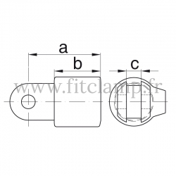 T court orientable - Partie femelle - Raccord tubulaire FitClamp. Double galvanisation. Plan