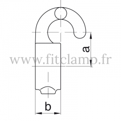 Tube clamp fitting 182: Hook clamp, compatible for use with single-tube tubular structures.