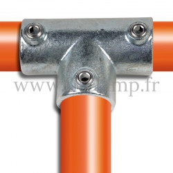 Tube clamp fitting 104 for tubular structures: Long tee, compatible for use with 3 tubes. Easy to install