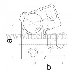 Raccord tubulaire Charpente partie basse (185) pour un assemblage tubulaire. Double galvanisation. Plan